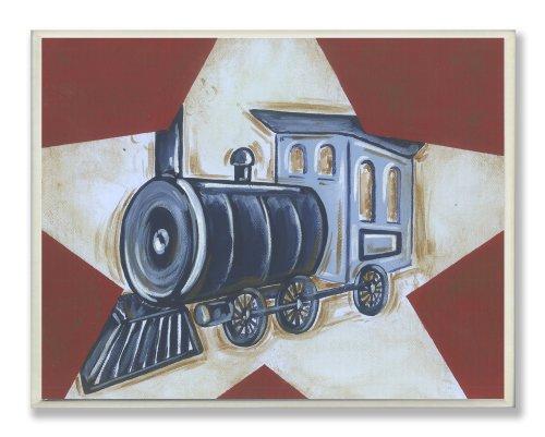 Stupell Home Decor Kollektion MDF Holz Zug, Auto und Flugzeug rot mit weißem Stern Rechteck Wandschild, 3er-Set, Mehrfarbig -