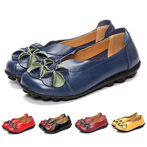 gracosy Donne Mocassini da Donna Primavera/Estate Vintage Fiori Fatto A Mano Pelle Scarpe Stile Loafers Comode Slip On Scarpe Espadrillas Scarpe da Guida Scarpe da Passeggio