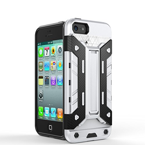 iPhone Case Cover iphone5s se fall 2 in 1 neue rüstung harter stil hybrid dual layer 'verteidiger pc harte fälle mit stehen [stoßfeste fall für iphone5s se] ( Color : Silver , Size : Iphone5s Se ) Silver