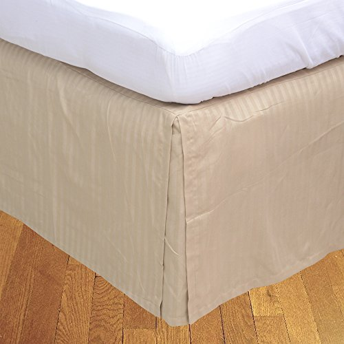 BudgetLinen Box a pieghe gonna letto ( Valance Sheet )(Oro a_righe,UK Super King Size 180x200 cm ( 6 ft 6'' x 6' ) , Drop Length 40cm) 100% cotone_egiziano Qualità premium 500 Numero di thread