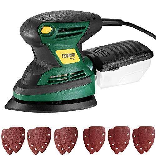Lijadora Eléctrica, TECCPO Professional 200W Lijadora Mouse, Lijadora de Detalles, 15500 OPM, 12 Piezas de Papel Lija, con Contenedor de Polvo Reutilizable, Diámetro de Órbita de 1,5 mm - TAMS23P