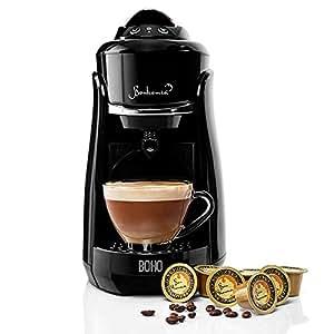 Bonhomia Boho Capsule Coffee Brewer Single Serve Espresso Machine (Black)
