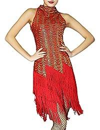 Mujer Vestido Latino Danza Rumba Borla De Lentejuelas De Baile Latino Vestido Rojo Dorado XL