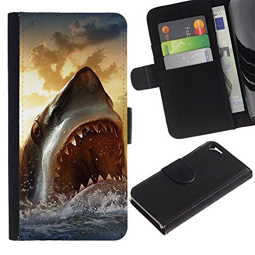 Graphic4You Weiß Hai Tier Design Brieftasche Leder Hülle Case Schutzhülle für Apple iPhone SE / 5 / 5S Design #7