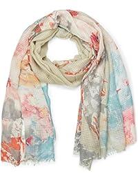 styleBREAKER chal finamente tejido con motivo de flores en acuarela en óptica de gofre, deshilachados en los bajos, pañuelo, de señora 01016132
