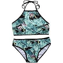 Luckycat Bikini Mujer Traje de baño 2018 Push Up Estampado Floral Conjunto Hálter con ...