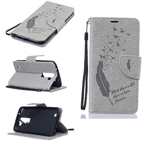 Huawei Honor 5X Hülle + [Frei Hartglas Displayschutzfolie], BoxTii Huawei Honor 5X Schutzhülle mit Bändselloch Kartenfächern Ständer Funktion Magnetverschluss, Kratzfeste Weiche Wickelfalz Lederhülle  #7 Grau