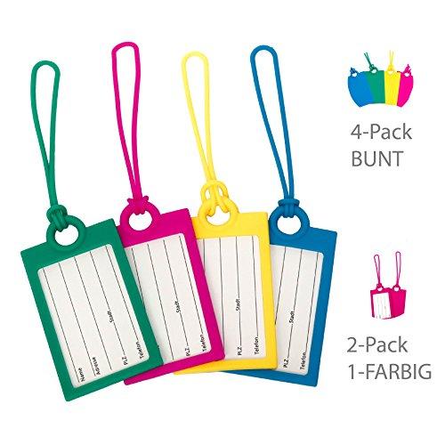 oder 4er-Set (pink, gelb, blau, grün) Kofferanhänger/ Gepäckanhänger aus hochwertigem Silikon für Reise und Flug inkl. Namensschild (4er-Set Bunt) (Kofferanhänger Gelb)