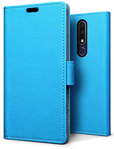 SLEO Hülle für Nokia 3.1 Plus, PU Leder Case Cover Tasche Schutzhülle Flip Case Wallet im Bookstyle für Nokia 3.1 Plus Hülle - Blau