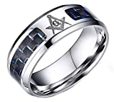 XiDDEE Sencilla Religiosa AG masónicos Negro Azul de Fibra de Carbono para el Acero Inoxidable Suena para Hombre de Alta Pulido