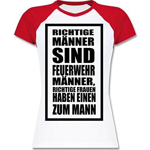 Shirtracer Feuerwehr - Feuerwehr - Richtige Männer - Zweifarbiges Baseballshirt/Raglan T-Shirt für Damen Weiß/Rot