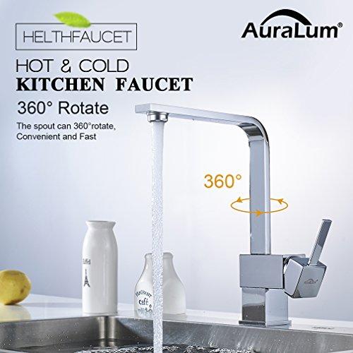 Auralum – Elegante 360° schwenkbare Küchenarmatur, Chrom - 2
