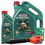 1 L + 5 L = 6 Liter Castrol Magnatec Diesel 5W-40 DPF Motor-Öl inkl. Ölwechsel-Anhänger und Einfülltrichter