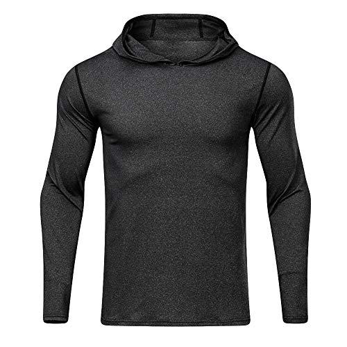 SSUDADY Freizeit Herren Einfarbig Kapuzenpullover Langarmshirt mit Kapuze Sweater Pullover T-Shirt Langarm Sweatshirt Oberteil Casual Tops Slim Fit Bluse S-2XL (Ralph Lauren Polo 1 4 Pullover)