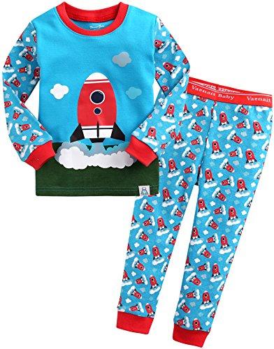 Vaenait baby Kinder Jungen Nachtwaesche Schlafanzug-Top Bottom 2 Stueck Set Cloud Rocket XS
