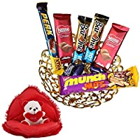 SFU E Com Valentines Day Chocolate Gift | Valentine's Day Gift Combo for Him, Her, Husband, Wife, Loved Ones, Girl Friend | Valentine Bear in Heart Teddy Bear | Valentine Chocolate Hamper | 1163