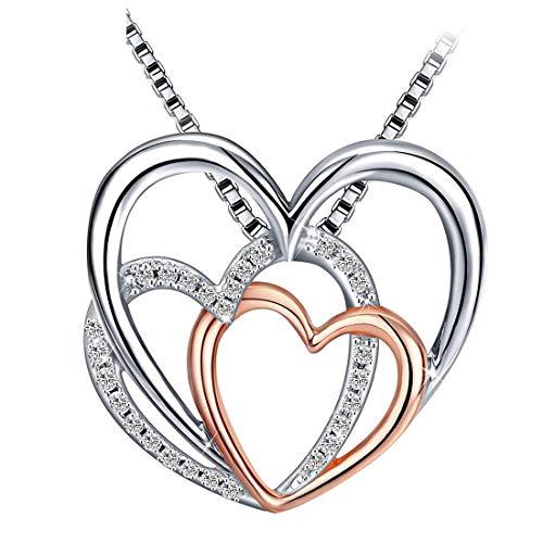 Caimeytie Halskette Damen Silber mit Anhänger 3 Herzen verflochten