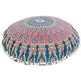 "Redonda de Mandala manta funda de almohada de 32"", cojines de suelo tamaño grande, decorativo almohada, Indian puf Otomano, Pom Pom Fundas de almohada, Boho funda para cojín"