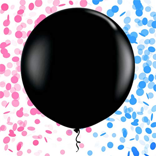 MyBeautyworld24 Riesen Luft-Ballon Boy or Girl inkl Konfetti-Füllung in rosa & blau 90 cm Baby-Shower-Party (Baby-dusche Schwarz Rosa Und)
