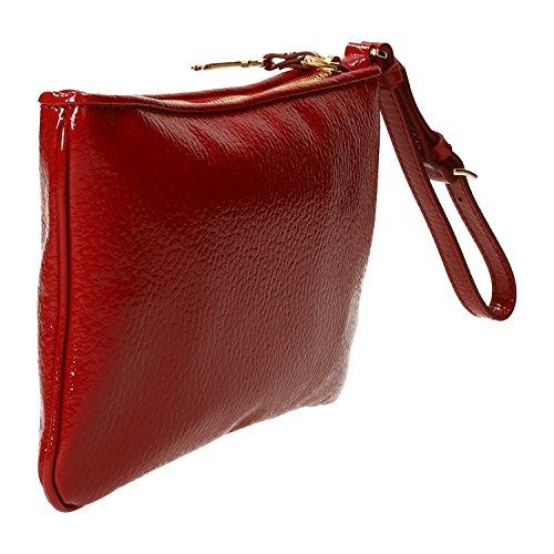 POUCH MIU MIU, con zip,pelle martellata,tasca interna,tinta unita,effetto verniciato,clutch, 100%CALF LEATHER MADE IN ITALY Rosso