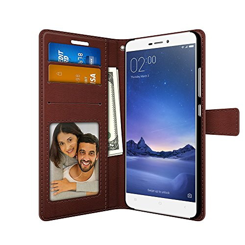 Redmi 3S Prime PU Leather Magnetic Flip Cover Wallet Case by FOSO(TM) (Brown)