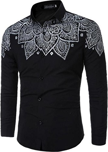 Jeansian Hommes Mode simple pour les Chemises Manche Longue Men's Fashion Casual Business Dress Shirt Tops 84N4 Black