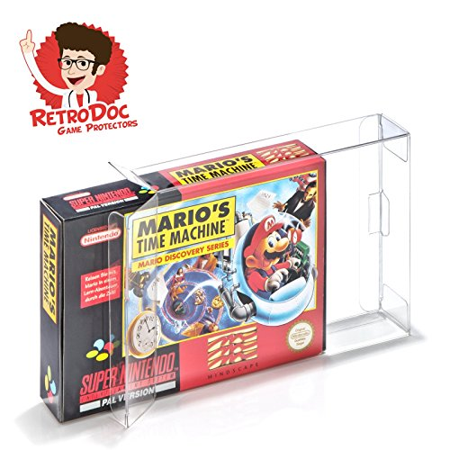 10 Klarsicht Schutzhüllen Super Nintendo [10 x 0,3MM SNES OVP] Spiele Originalverpackungen Passgenau Glasklar