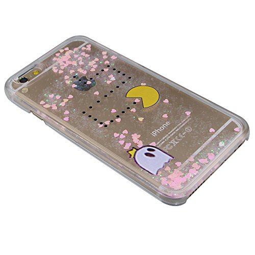 iPhone 6 Hülle iPhone 6S Hülle,iPhone 6S Case,EMAXELERS Cute Weißes Kleid Mädchen Muster Hart Transparente Hülle Case Cover Fairy Mädchen Serie 3D Glitter flüssigkeit Schwimmende Veränderung farbe Pai Pink Heart Series 5