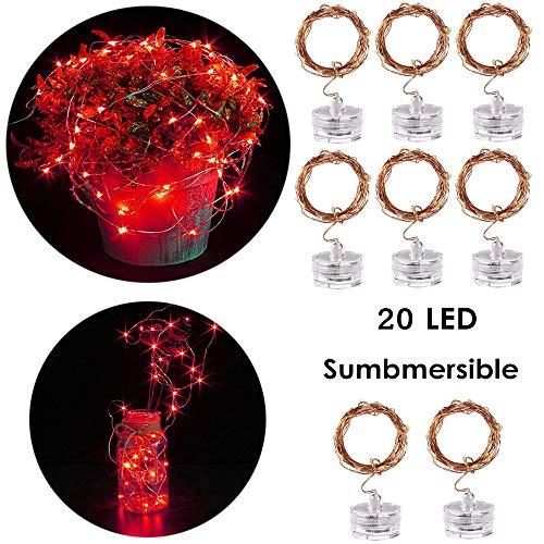 Lichterkette Kupferdraht IP65 Wasserfest LED,Morbuy Außen Innen DekorationBatterie-betrieben Micro Licht für Aquarium Hochzeit Weihnachten und Haus Halloween Deko (Rot) -