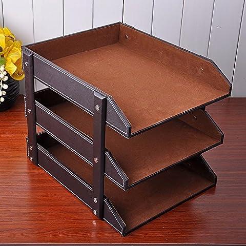 Mesh letteratura parete titolare titolare di file anti-graffio Front-Load Desk lettera i vassoi di deposito,File information desk scatola di archiviazione file in formato A4 box ripiano,marrone a tre livelli di supporto file 27x33x27cm