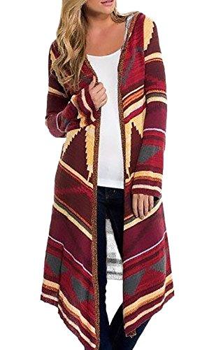 Cardigan Uomo Invernale Donna Lungo Elegante Con Cappuccio Manica Lunga Vintage Stampato Modello Hippie Moda Casual Calda Knit Cardigan Hoodies Cappotto Outwear Top rossi