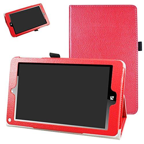 Signature Rot Leder (NuVision TM800W560L Schutzhülle, Mama Mouth PU Leder Folio 2-Faltbare Standfunktion für 20,3 cm (8 Zoll) NuVision TM800W560L 20,3 cm Signature Edition Windows 10 Tablet, Rot)