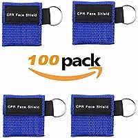 LSIKA-Z Paquete de 100pcs CPR Máscara Llavero Anillo de Emergencia Kit Rescate Face Shields con válvula de un Solo Sentido Respiración Barrera