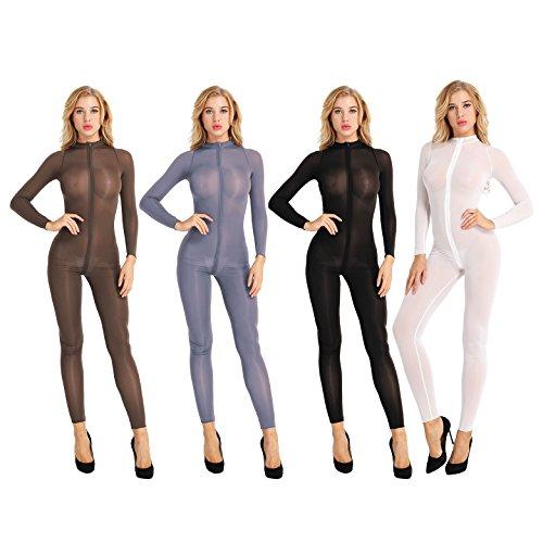 iiniim Damen Overall Catsuit Transparent Einteiler Bodysuit Ganzkörperanzug Party Clubwear