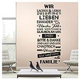 Wandaro W3398 Wandtattoo Spruch Wir Sind Eine Tolle Familie I Dunkelgrau (BxH) 58 x 144 cm I Flur Wohnzimmer Aufkleber Wandsticker Wandaufkleber