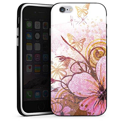 Apple iPhone X Silikon Hülle Case Schutzhülle Schmetterling Blüte Blume Silikon Case schwarz / weiß