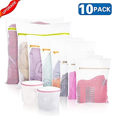 2019 Upgraded Mesh Laundry Bags, 10 Pack Coarse Mesh Washing Bags, Soapy Water Comes From Washing Bags Easily, Much Cleaner and Much Drier