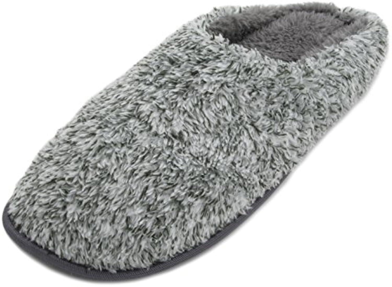 SlumberzzZ Hausschuhe Herren Coral Fleece offener Rücken Mule Slipper