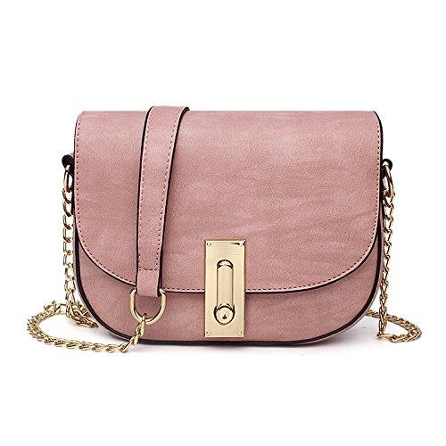 Sprnb Mode Niedlich Satteltasche Kette Schulter Span Simple City Girl Persönlichkeit Paket All-Match Pink