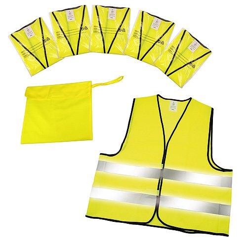 Warnwesten 5er-Set im Etui nach EN ISO 20471 zertifiziert Warnweste neon-gelb Größe XXL mit Reflektorstreifen - Jacke 2 Stück Set