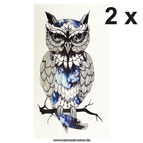 Tattoodrucker 2 x Eule auf AST in Schwarz/Blau - Fake Temporäres einmal Körpertattoo A1209 (2)