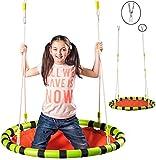 """Nestschaukel / Rundschaukel / Stoffschaukel - Ø 110 cm - """" zusammenfaltbar & höhenverstellbar """" - Liegeschaukel - rund - XL Schaukel - für Kinder & Erwachsene - Seile 12 mm stark - Gartenschaukel - für Außen + Innen - Kinderschaukel / Babyschaukel / für Baby - Spinnennetz - faltbar - Stoffschaukel Swing - Tellerschaukel - Hängesessel / Hängestuhl - Netzschaukel - Liegeschaukel"""