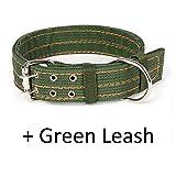GHDLSJER L/XL Super Starke grobe Nylon Hundeleine Armee grün Leinwand zweireihig einstellbar Hundehalsband für mittelgroßen Hund Pitbull D Buckle x Leash 120CMx(75CMx5CM)