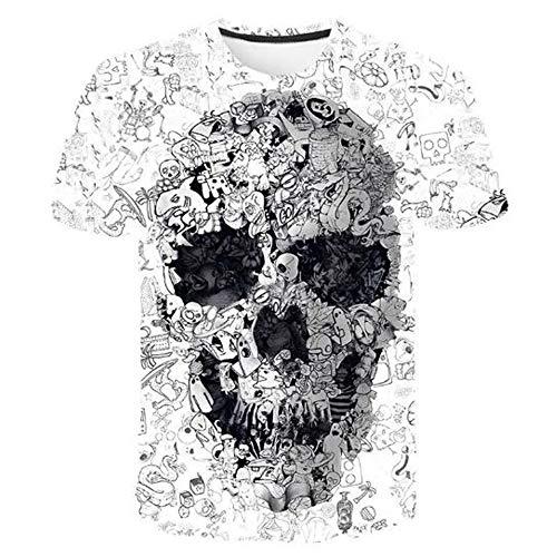Sommert-shirtMännersommer-beiläufige Tarnungs-Druck-mit Kapuze ärmelloses T-Shirt Spitzenweste,Minimalistischer 3D-Druck - EIN weißer 5XL
