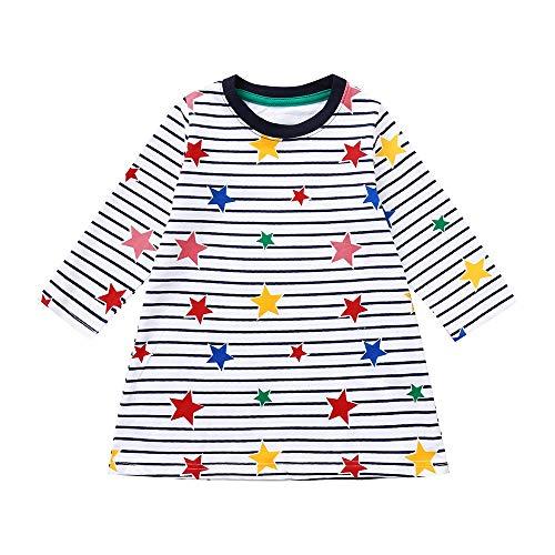Huihong Baby Mädchen Kleid Prinzessin Party Kleider Langarm Streifen Sterne Drucken Festlich Schöne Kleider T Shirt Kleider (Weiß, 4T/110)
