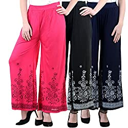 NumBrave Pink , Black And Navy Blue Viscose Floral Print Palazzo Pants for Women-Pack of 3
