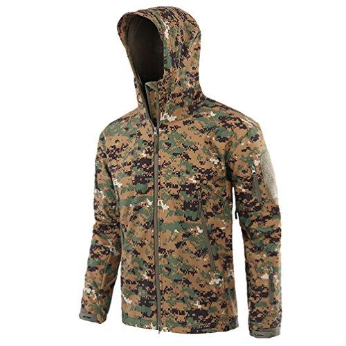 YuanDian Herren Taktisch Softshell Fleecejacke Camouflage Militär Hoodie Outdoor Wandern Camping Warm Innenfutter Winddicht Wasserdicht Mantel Jacken Skijacke Dschungel Digital M -