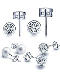 Yumi Lok 3 pares Basic perlas de plata de ley 925 con Circonita Cristal Pendientes Set Shamballa bolas pendientes para mujer mujeres niña