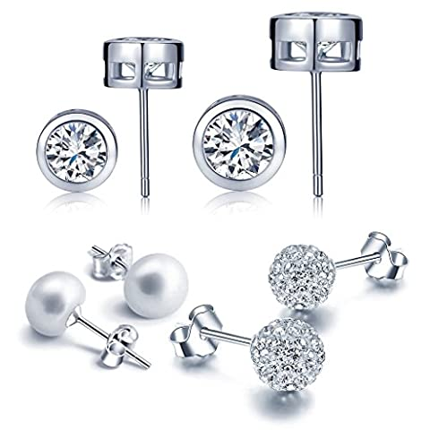 Yumilok Jewelry Women's 4 Pairs 925 Sterling Silver Crystal Cubic Zirconia Pearls Studs Hypoallergenic Earring Set
