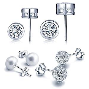 Yumilok 4 Paare Basic 925 Sterling Silber Zirkonia Perlen Kristall Ohrstecker Set Shamballa Kugeln Ohrringe Ohrschmuck für Damen Frauen Mädchen